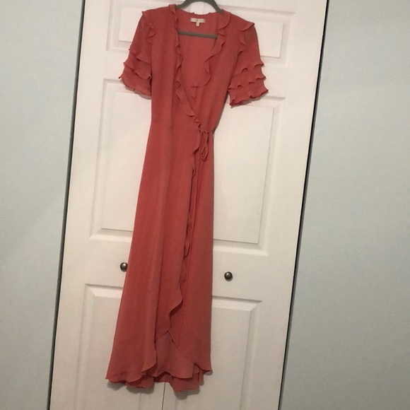 WAYF Ruffle Wrap Gown- Coral Rose Tea
